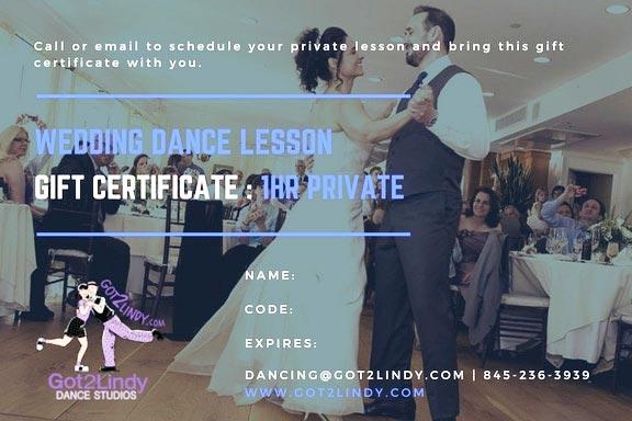 Wedding Dance Gift Certificates