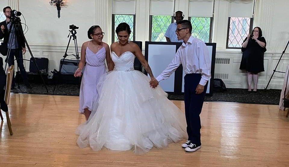 Wedding dress too long to dance in.